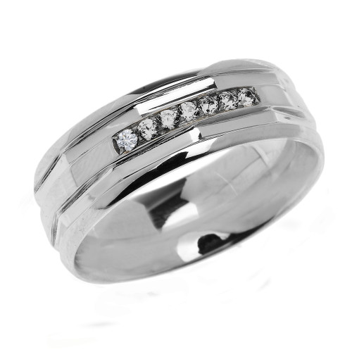 Sterling Silver Comfort Fit Modern Wedding Band with Diamonds