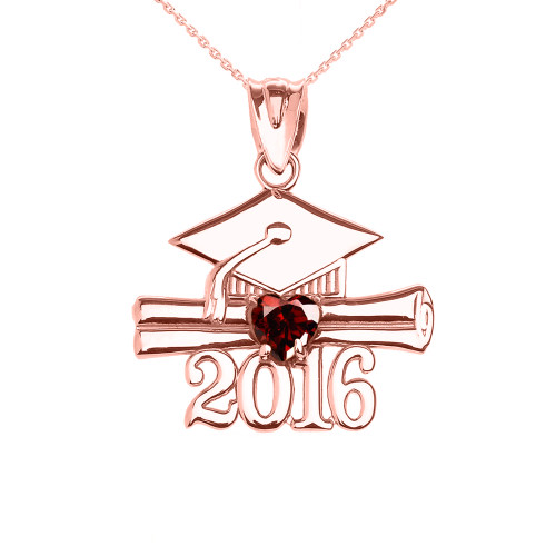 Rose Gold Heart January Birthstone Garnet Cz Class of 2016 Graduation Pendant Necklace