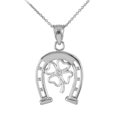 White Gold Lucky Horseshoe with Diamond 4-Leaf Clover Pendant Necklace
