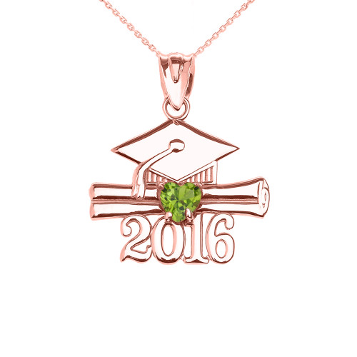Rose Gold Heart August Birthstone Light Green Cz Class of 2016 Graduation Pendant Necklace
