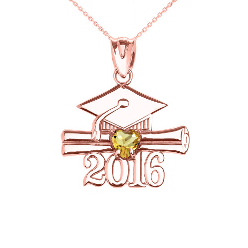 Rose Gold Heart November Birthstone Yellow Cz Class of 2016 Graduation Pendant Necklace