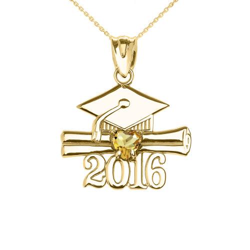 Yellow Gold Heart November Birthstone Yellow Cz Class of 2016 Graduation Pendant Necklace