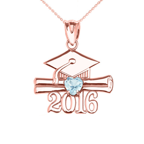 Rose Gold Heart March Birthstone Aqua Cz Class of 2016 Graduation Pendant Necklace