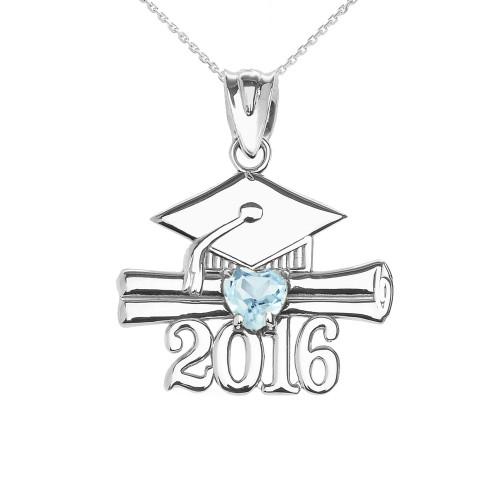 White Gold Heart March Birthstone Aqua Cz Class of 2016 Graduation Pendant Necklace