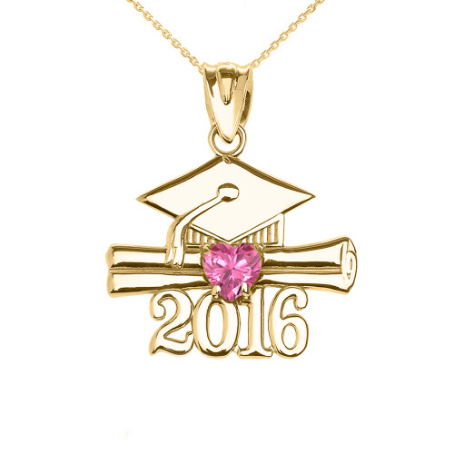 Yellow Gold Heart October Birthstone Pink Cz Class of 2016 Graduation Pendant Necklace