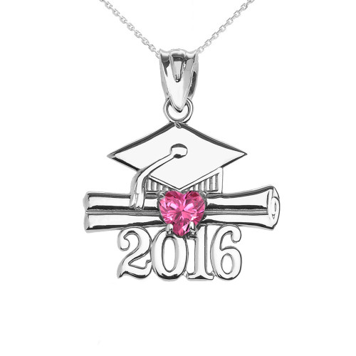 Sterling Silver Heart October Birthstone Pink Cz Class of 2016 Graduation Pendant Necklace