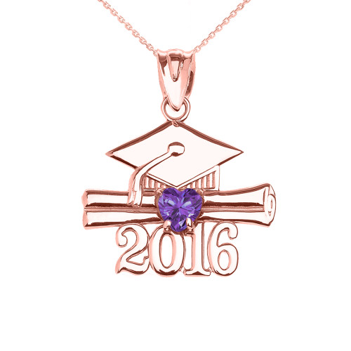 Rose Gold Heart June Birthstone Light Purple Cz Class of 2016 Graduation Pendant Necklace