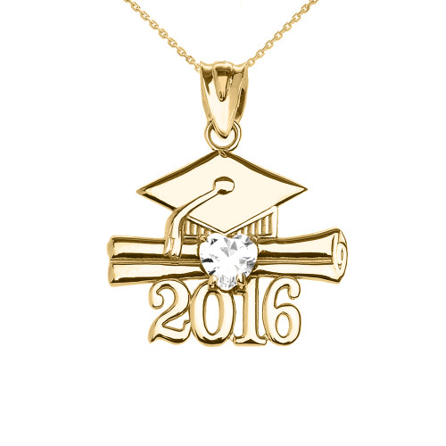 Yellow Gold Heart April Birthstone White CZ Class of 2016 Graduation Pendant Necklace