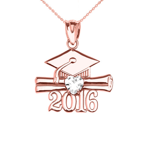 Rose Gold Heart April Birthstone White CZ Class of 2016 Graduation Pendant Necklace