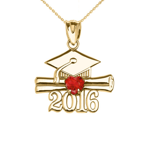 Yellow Gold Heart July Birthstone Red CZ Class of 2016 Graduation Pendant Necklace
