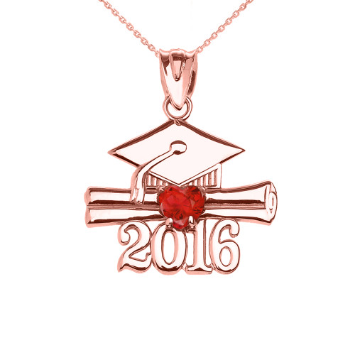 Rose Gold Heart July Birthstone Red CZ Class of 2016 Graduation Pendant Necklace