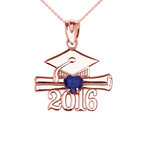Rose Gold Heart September Birthstone Blue CZ Class of 2016 Graduation Pendant Necklace