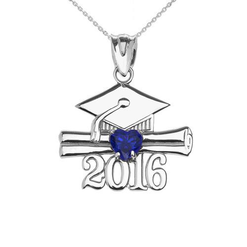 White Gold Heart September Birthstone Blue CZ Class of 2016 Graduation Pendant Necklace