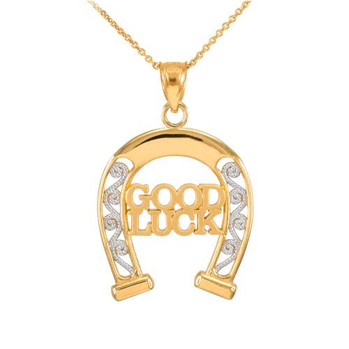 Two-Tone Yellow Gold GOOD LUCK Horseshoe Filigree Pendant Necklace
