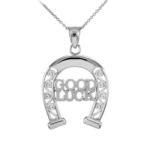 White Gold GOOD LUCK Horseshoe Filigree Pendant Necklace