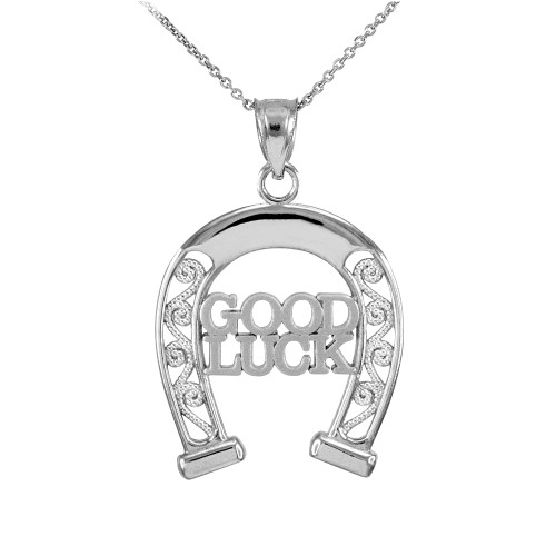 925 Sterling Silver GOOD LUCK Horseshoe Filigree Pendant Necklace