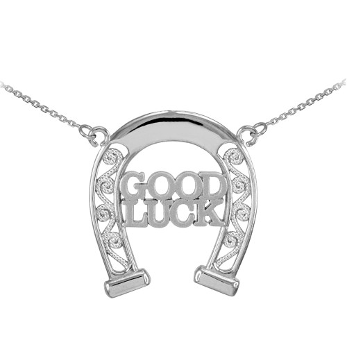 14k White Gold GOOD LUCK Horseshoe Filigree Necklace