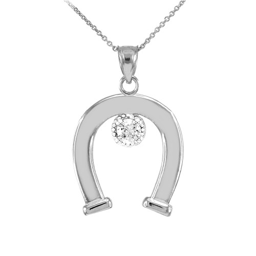 White Gold CZ-Studded Lucky Horseshoe Pendant Necklace