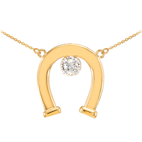 14k Yellow Gold CZ-Studded Lucky Horseshoe Necklace