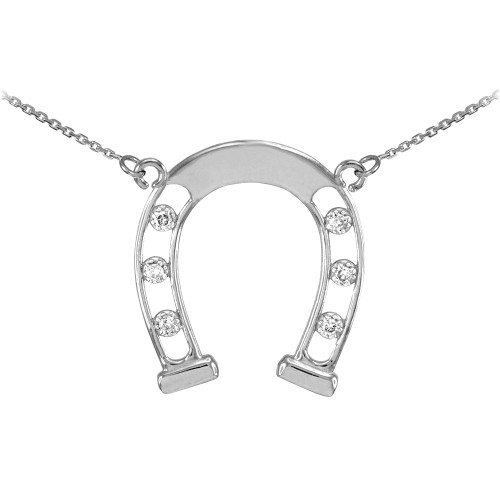14k White Gold Good Luck Horseshoe Necklace with Diamonds