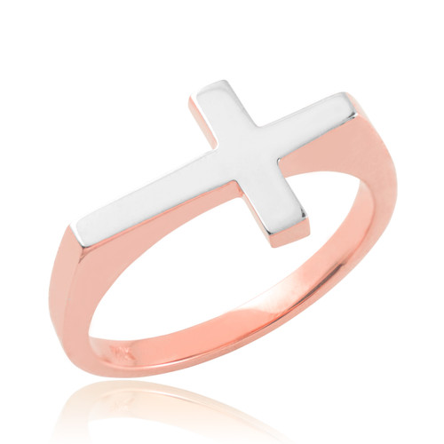 Solid Two-Tone Rose Gold Polished Band Flat Top Sideways Cross Ring