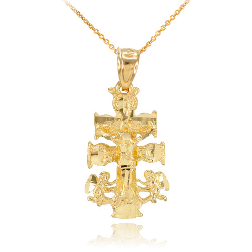 Gold Caravaca Crucifix Cross Charm Pendant Necklace