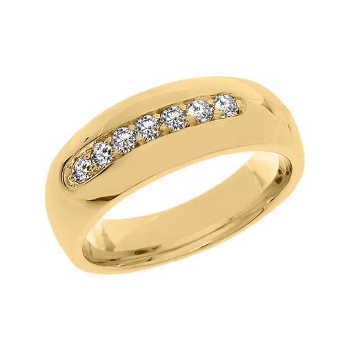 Yellow Gold 0.5 Carat Cubic Zirconia Men's Wedding Band Ring
