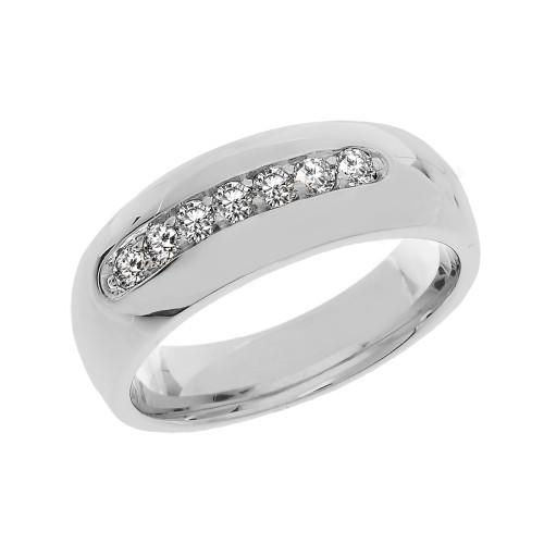 Sterling Silver 0.50 Carat White Topaz Men's Wedding Band