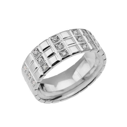 Sterling Silver White Topaz Checkerboard Men's Wedding Band Ring