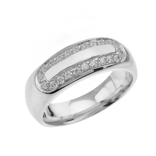 White Gold CZ Accented Men's Comfort Fit Wedding Band Ring