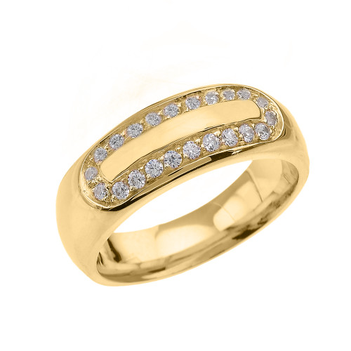 Yellow Gold CZ Accented Men's Comfort Fit Wedding Band Ring