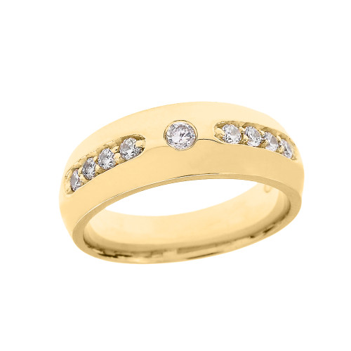 Yellow Gold CZ comfort Fit Men's Wedding Band Ring