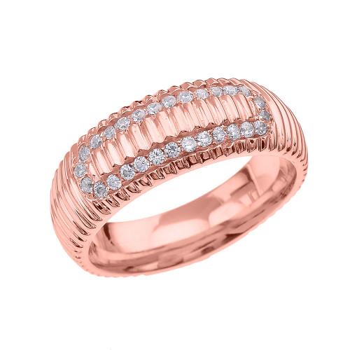 Rose Gold CZ Watch Band Design Men's Comfort Fit Wedding Ring
