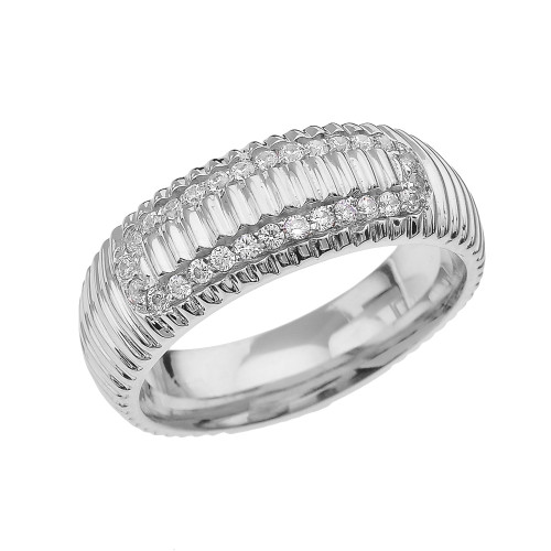 White Gold CZ Watch Band Design Men's Comfort Fit Wedding Ring