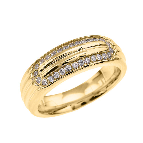 Ribbed Stripe Design Yellow Gold CZ Men's Comfort Fit Wedding Ring