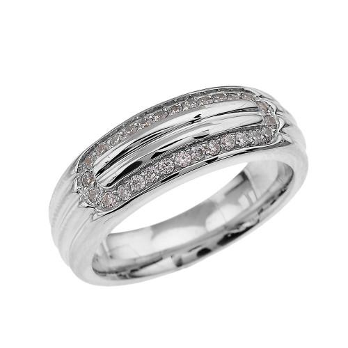 Ribbed Stripe Design Sterling Silver White Topaz Men's Comfort Fit Wedding Ring