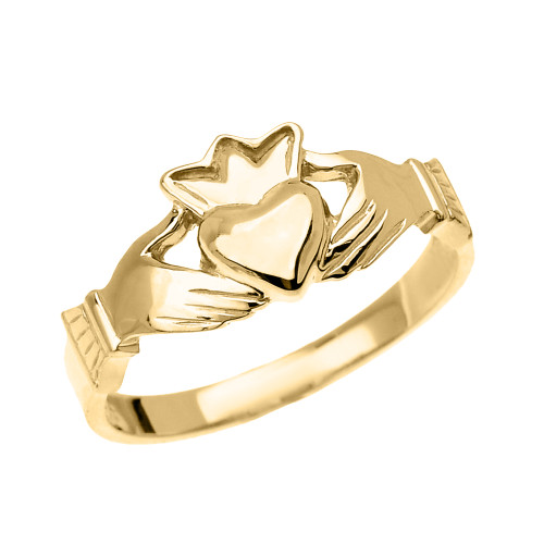 Yellow Gold Dainty Ladies Claddagh Ring