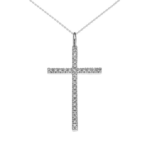 White Gold Dainty Cubic Zirconia Cross Pendant Necklace