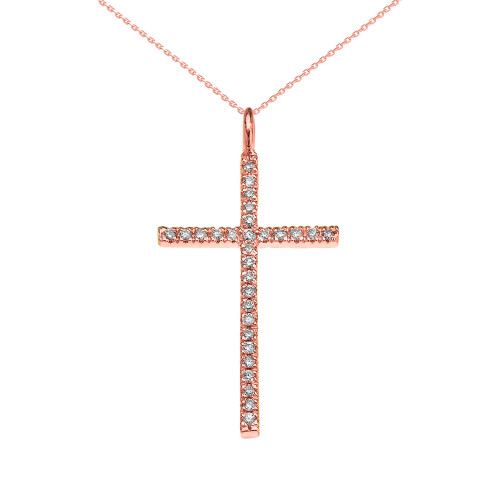 Rose Gold Dainty Cubic Zirconia Cross Pendant Necklace