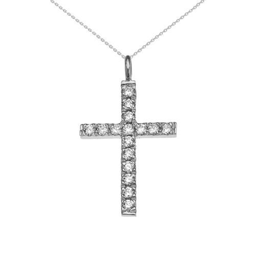 Elegant White Gold Cubic Zirconia Cross Pendant Necklace