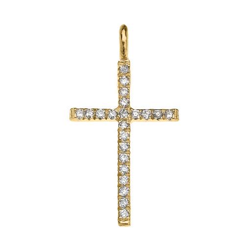 Yellow Gold Cubic Zirconia Fine Cross Pendant Necklace