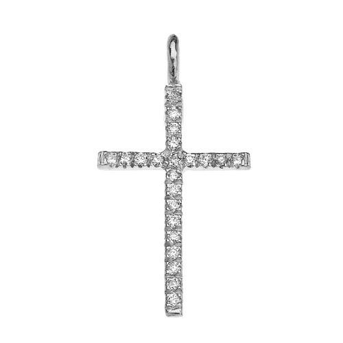 White Gold Cubic Zirconia Fine Cross Pendant Necklace