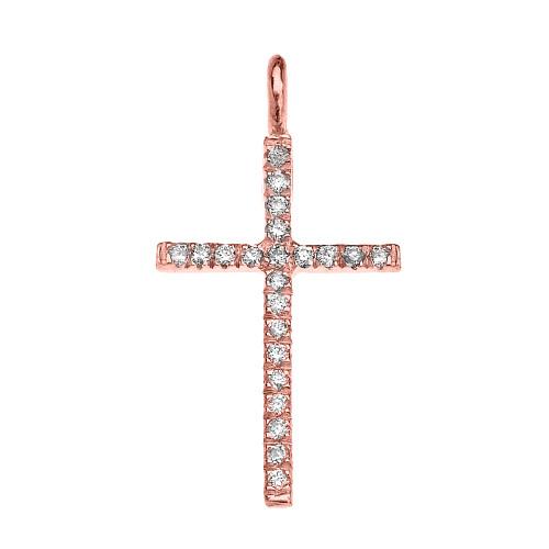 Rose Gold Diamond Fine Cross Pendant Necklace