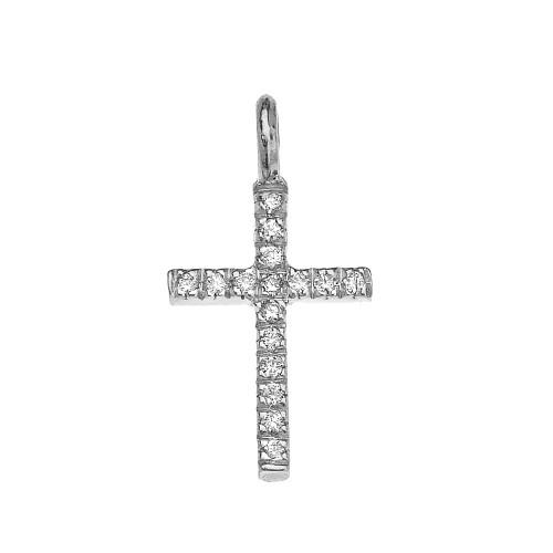 White Gold Cubic Zirconia Cross Charm Pendant Necklace