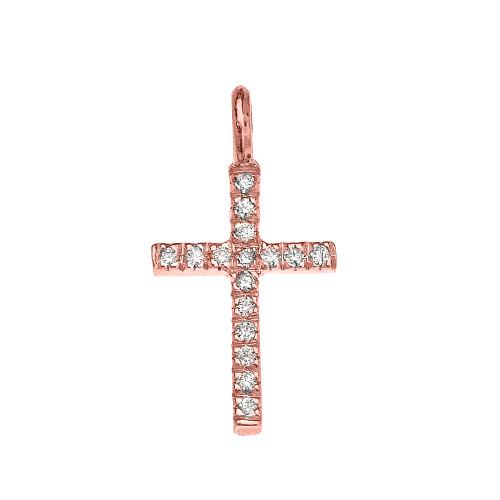 Rose Gold Diamond Cross Charm Pendant Necklace