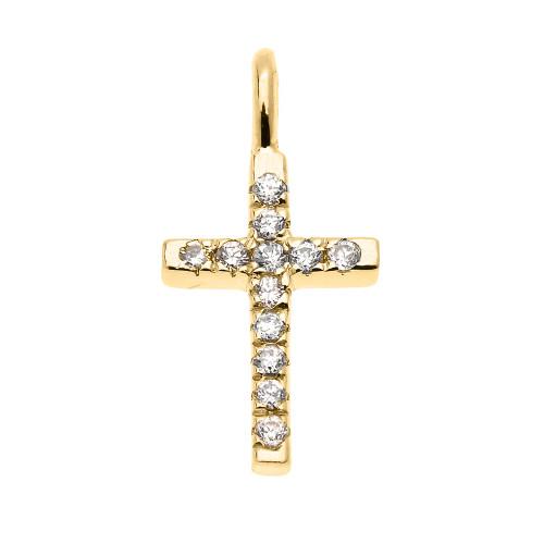 Dainty Yellow Gold Cubic Zirconia Cross Charm Pendant Necklace