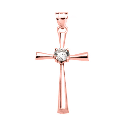 Beautiful Rose Gold Solitaire Cubic Zirconia Cross Dainty Pendant Necklace