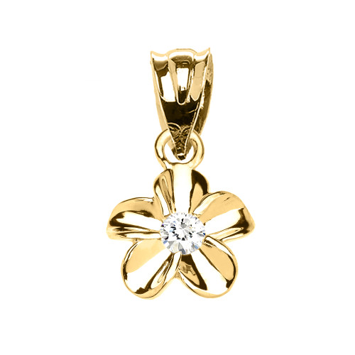 Delicate Yellow Gold Hawaiian Plumeria Cubic Zirconia Charm Pendant Necklace