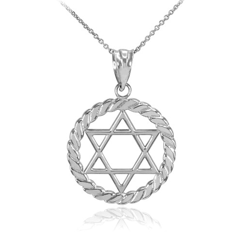 Silver Jewish Star of David in Circle Rope Pendant Necklace