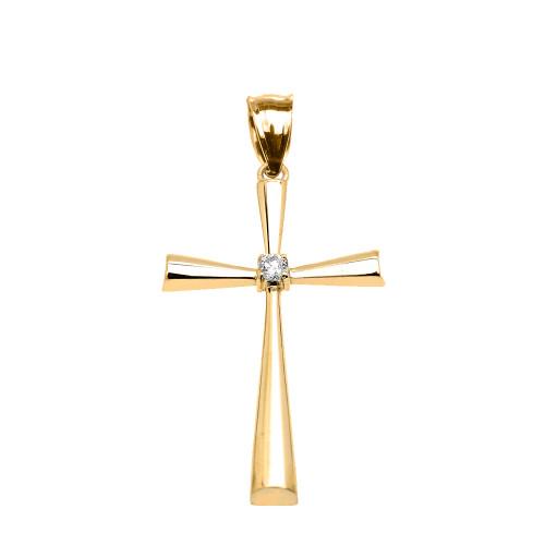 Yellow Gold Solitaire Diamond Cross Beautiful Pendant Necklace